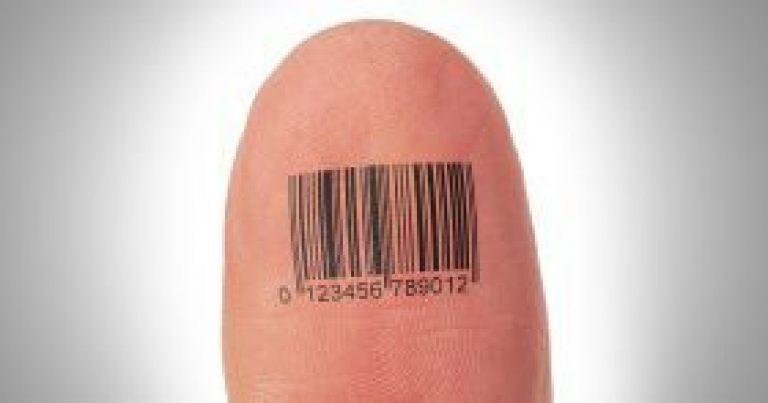 Thumb finger over a white background, barcode